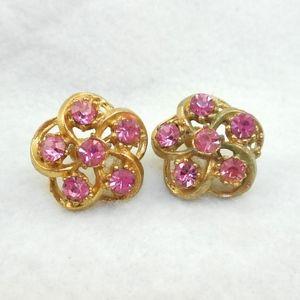 Jewelry - Vintage Pink Rhinestone Screw Earrings